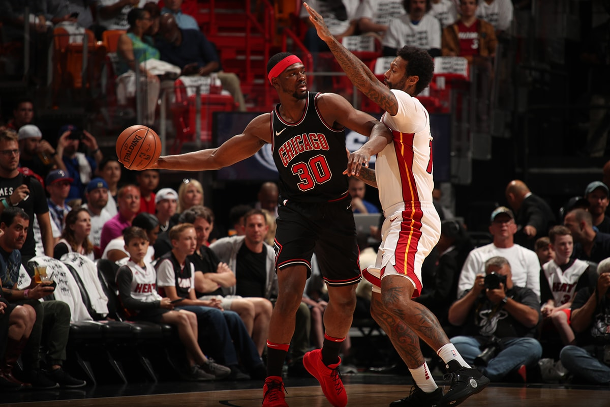 Noah Vonleh of the Chicago Bulls passes the ball
