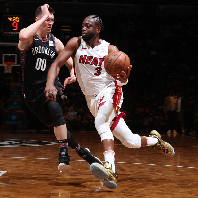 Dwyane Wade #3 of the Miami Heat handles the ball against the Brooklyn Nets on April 10, 2019 at Barclays Center in Brooklyn, New York.