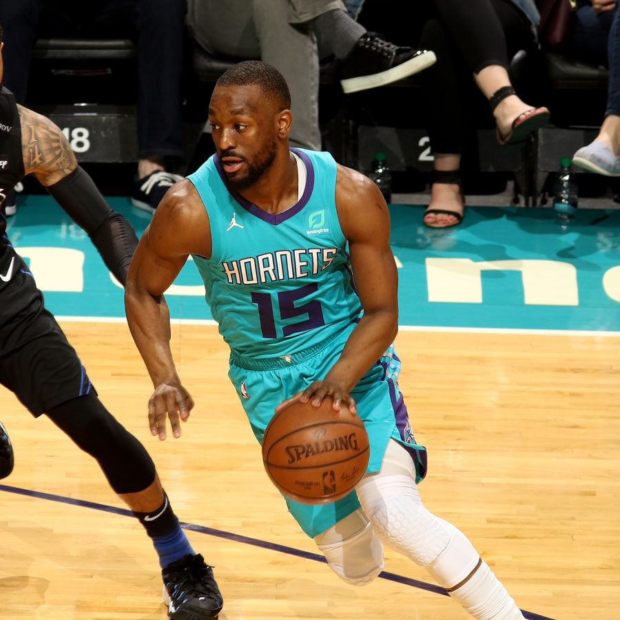 Kemba Walker #15 of the Charlotte Hornets drives to the basket during the game against the Orlando Magic on April 10, 2019 at Spectrum Center in Charlotte, North Carolina.