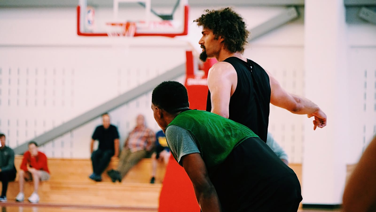 Wendell Carter Jr and Robin Lopez during Bulls training camp