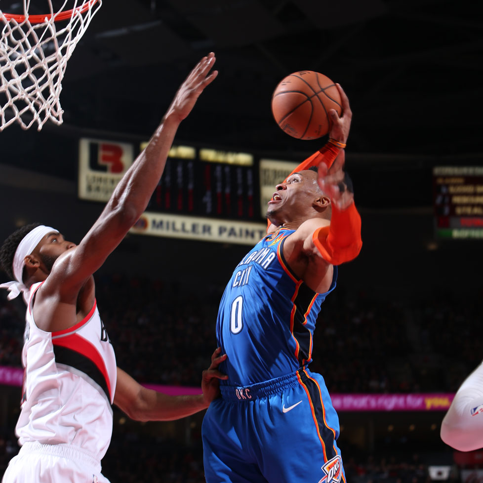 Russell Westbrook #0 of the Oklahoma City Thunder dunks the ball against the Portland Trail Blazers during Game One of Round One of the 2019 NBA Playoffs on April 14, 2019 at the Moda Center Arena in Portland, Oregon.