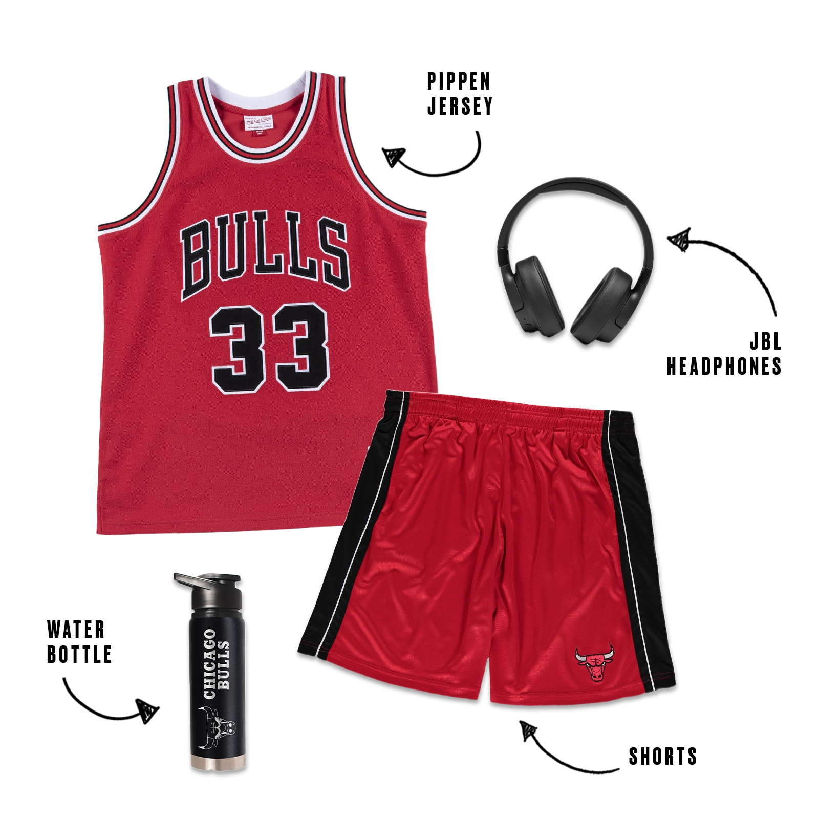 Red Pippen jersey with headphones, shots and a Bulls water bottle