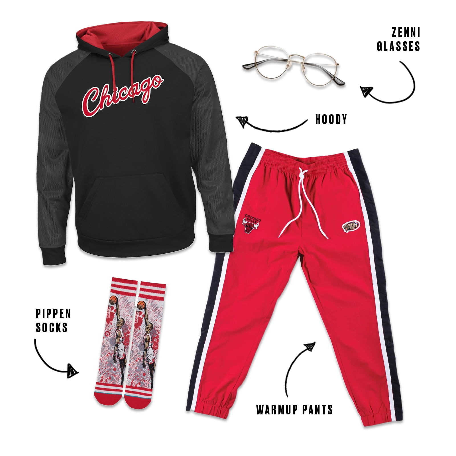 Bulls hoody and sweat pants with Zenni glasses