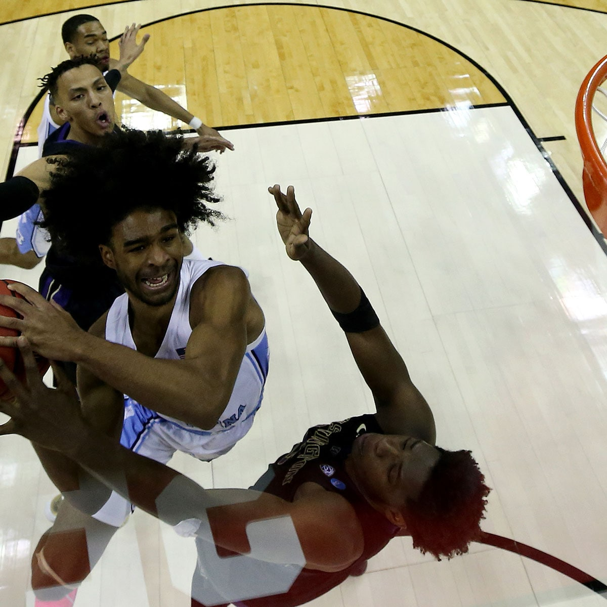 Coby White #2 of the North Carolina Tar Heels goes up for a shot against the Washington Huskies during their game in the Second Round of the NCAA Basketball Tournament at Nationwide Arena on March 24, 2019 in Columbus, Ohio.