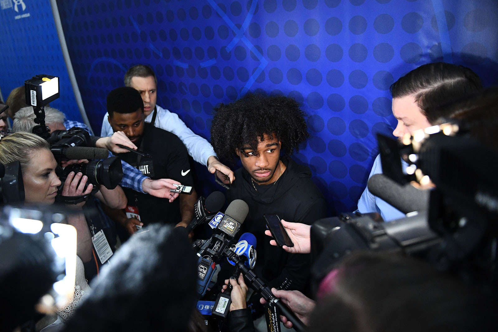 Coby White speaks with the media during Day One of the NBA Draft Combine at Quest MultiSport Complex on May 16, 2019 in Chicago, Illinois.