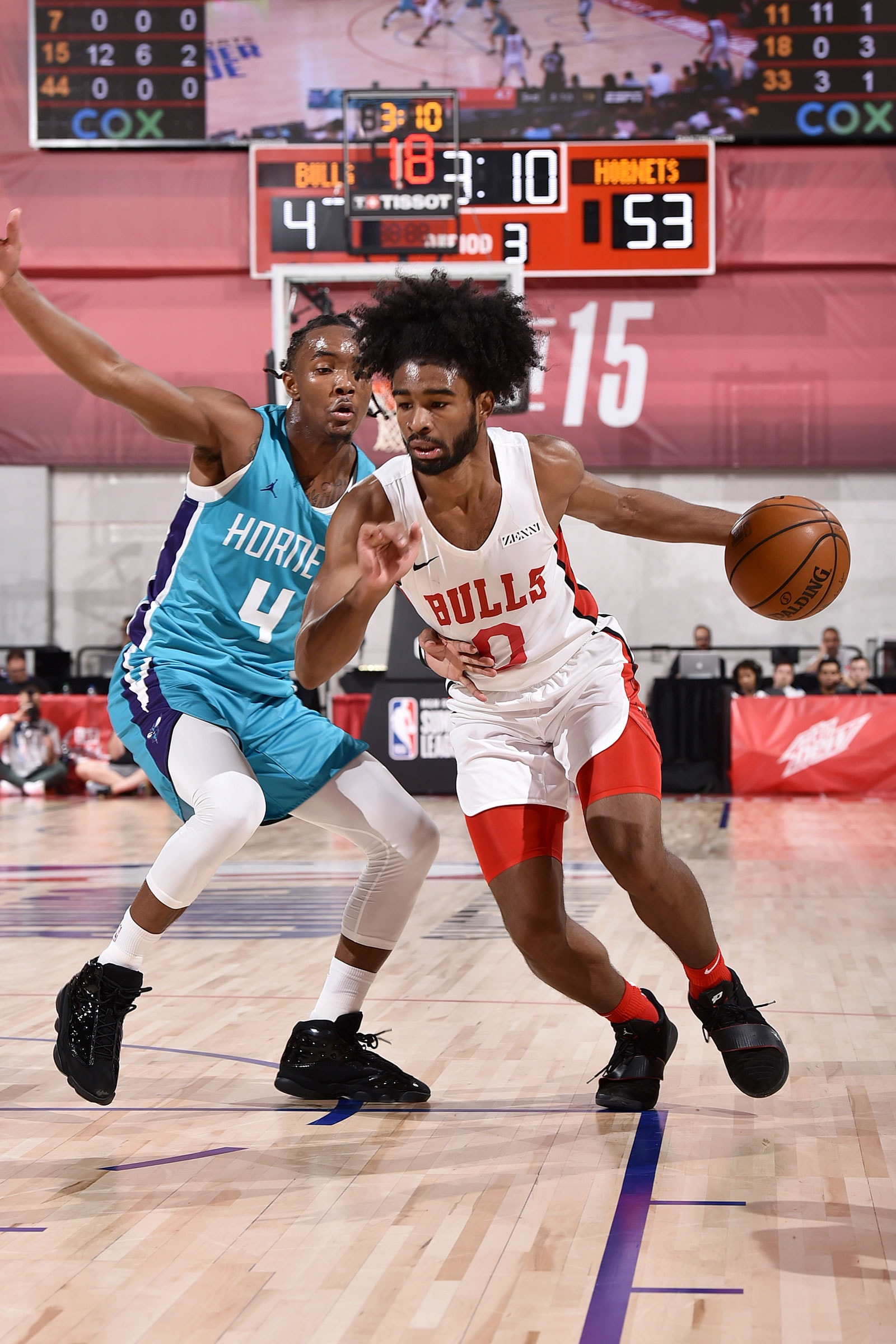 Coby White #0 of the Chicago Bulls handles the ball against the Charlotte Hornets on July 10, 2019 at the Cox Pavilion in Las Vegas, Nevada.