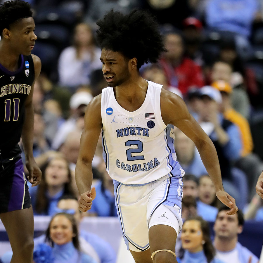 Coby White #2 of the North Carolina Tar Heels reacts to a play against the Washington Huskies during their game in the Second Round of the NCAA Basketball Tournament at Nationwide Arena on March 24, 2019 in Columbus, Ohio.