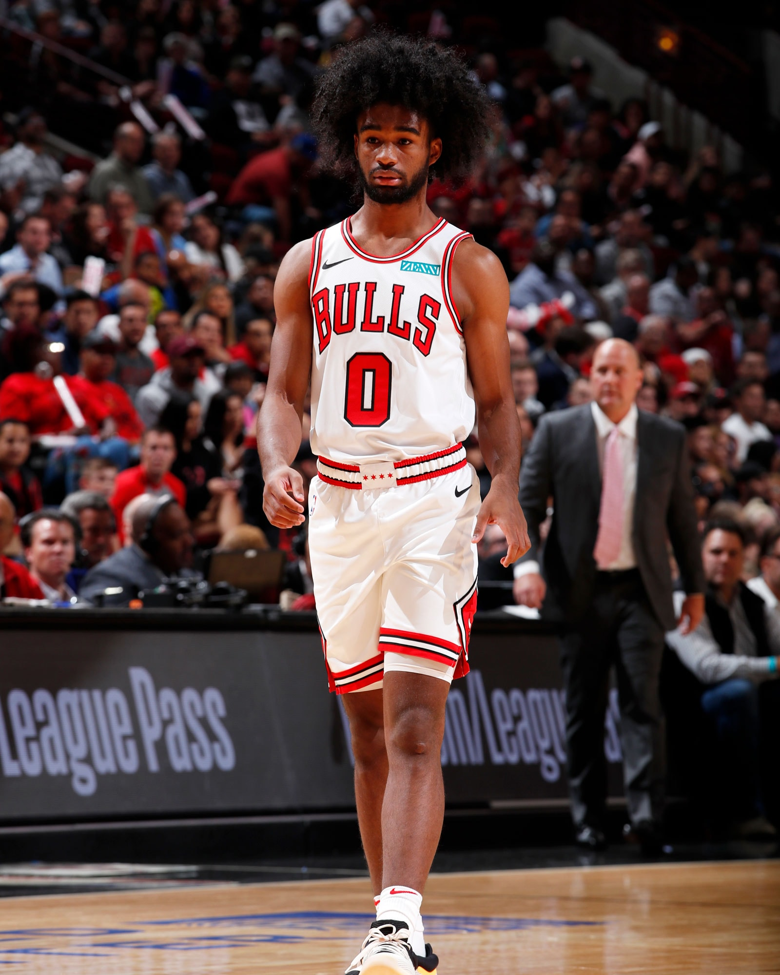 Coby White #0 of the Chicago Bulls looks on during a pre-season game against the New Orleans Pelicans on October 8, 2019 at United Center in Chicago, Illinois.