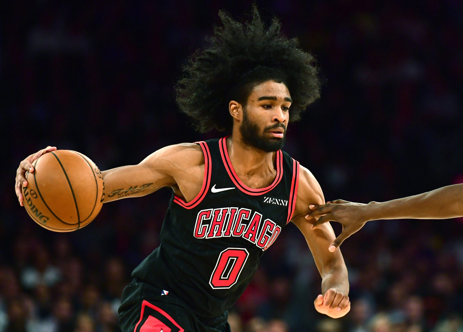 Coby White #0 of the Chicago Bulls drives in the second half of their game against the New York Knicks at Madison Square Garden on October 28, 2019 in New York City.