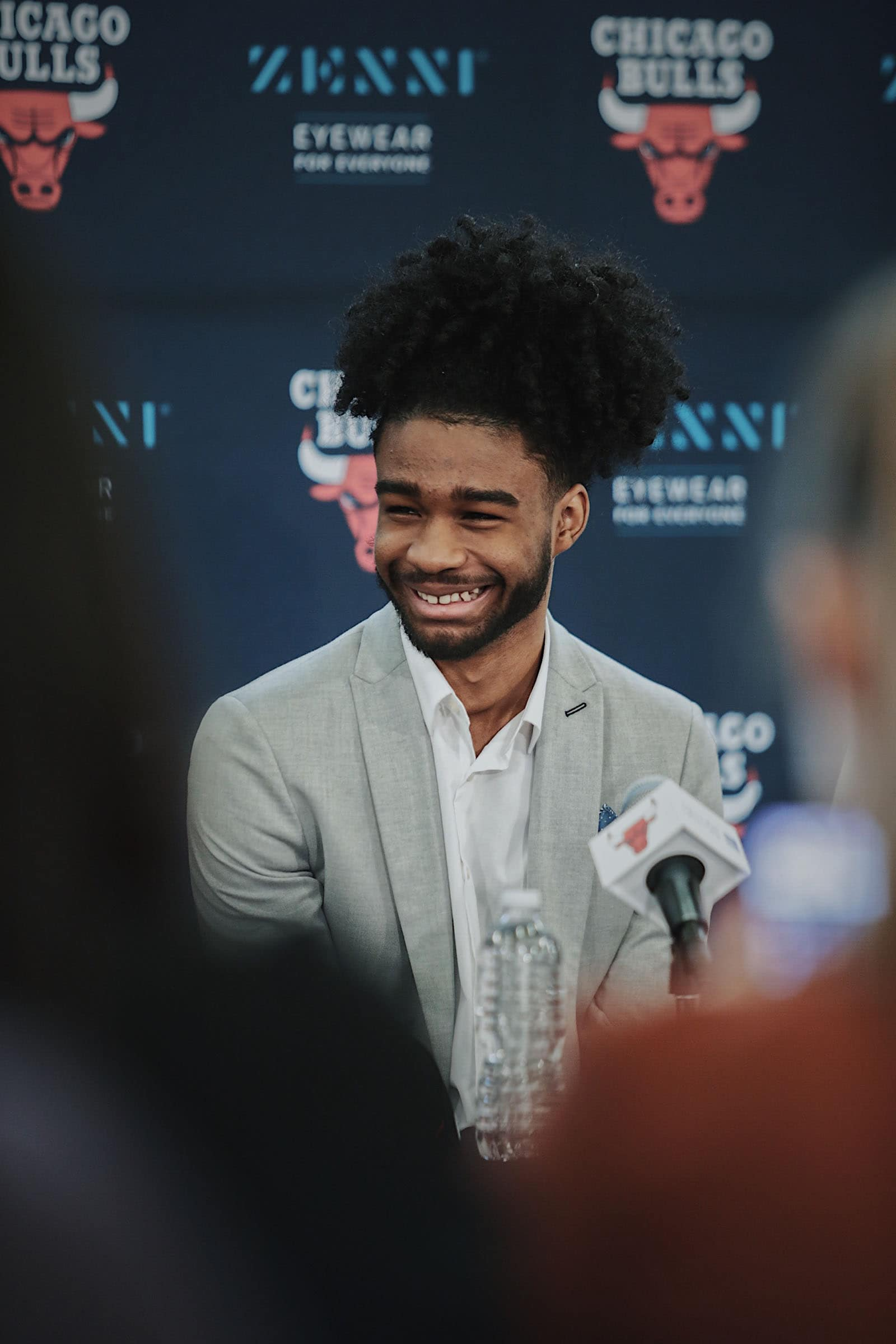 Coby White addresses the media