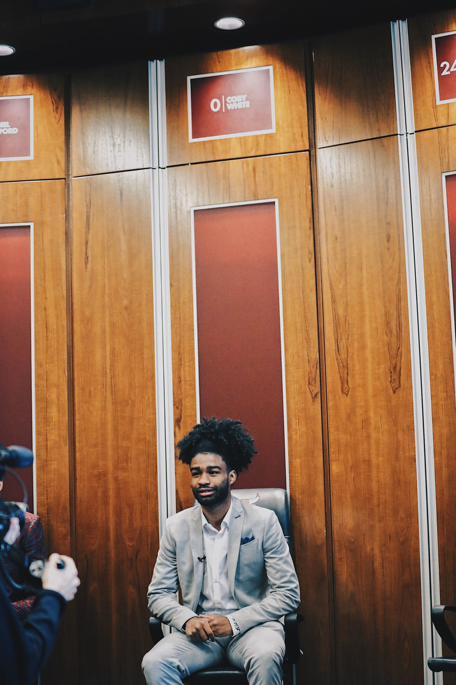 Coby White in the Bulls dressing room at the Advocate Center