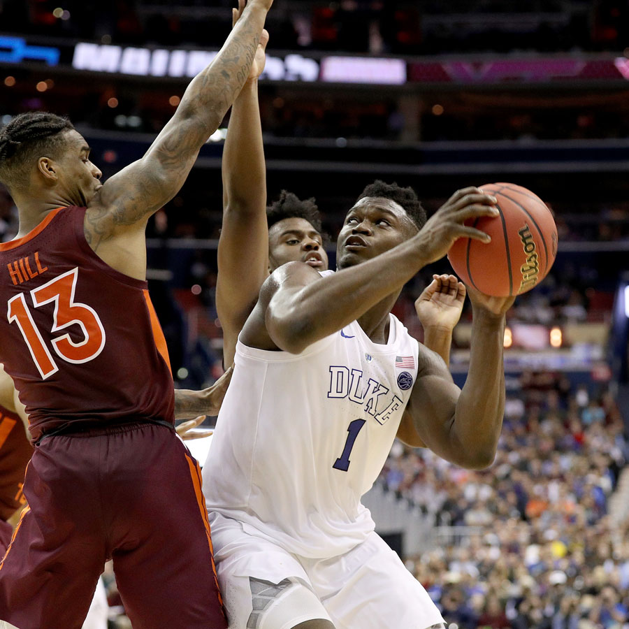 Zion Williamson #1 of the Duke Blue Devils shoots the ball against Ahmed Hill #13 of the Virginia Tech Hokies during the second half in the East Regional game of the 2019 NCAA Men's Basketball Tournament at Capital One Arena on March 29, 2019 in Washington, DC.