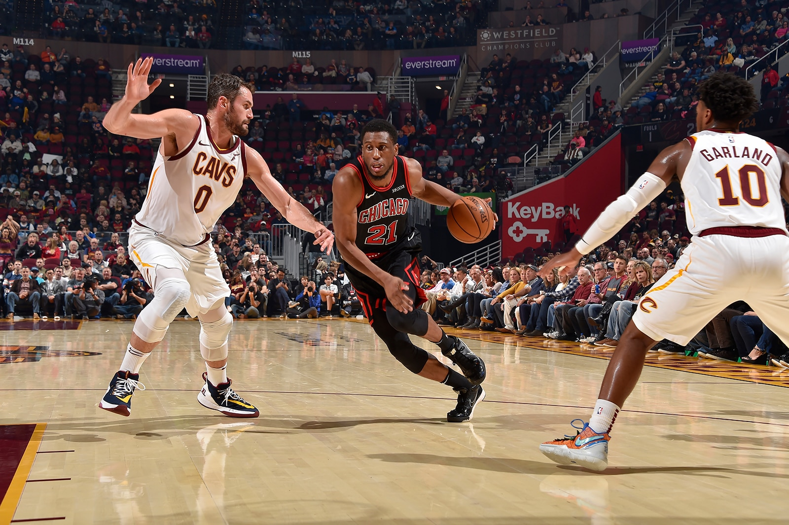 Thad Young Drives on Kevin Love