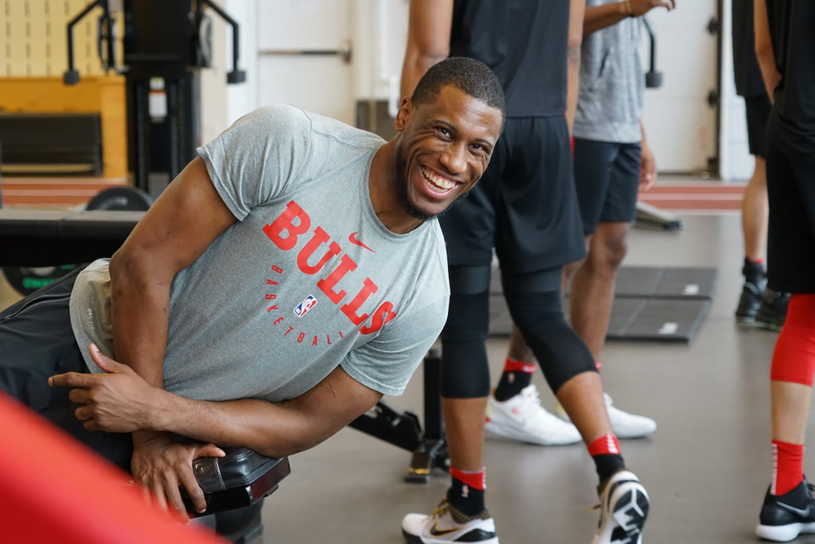 Thad smiling during a preseason workout