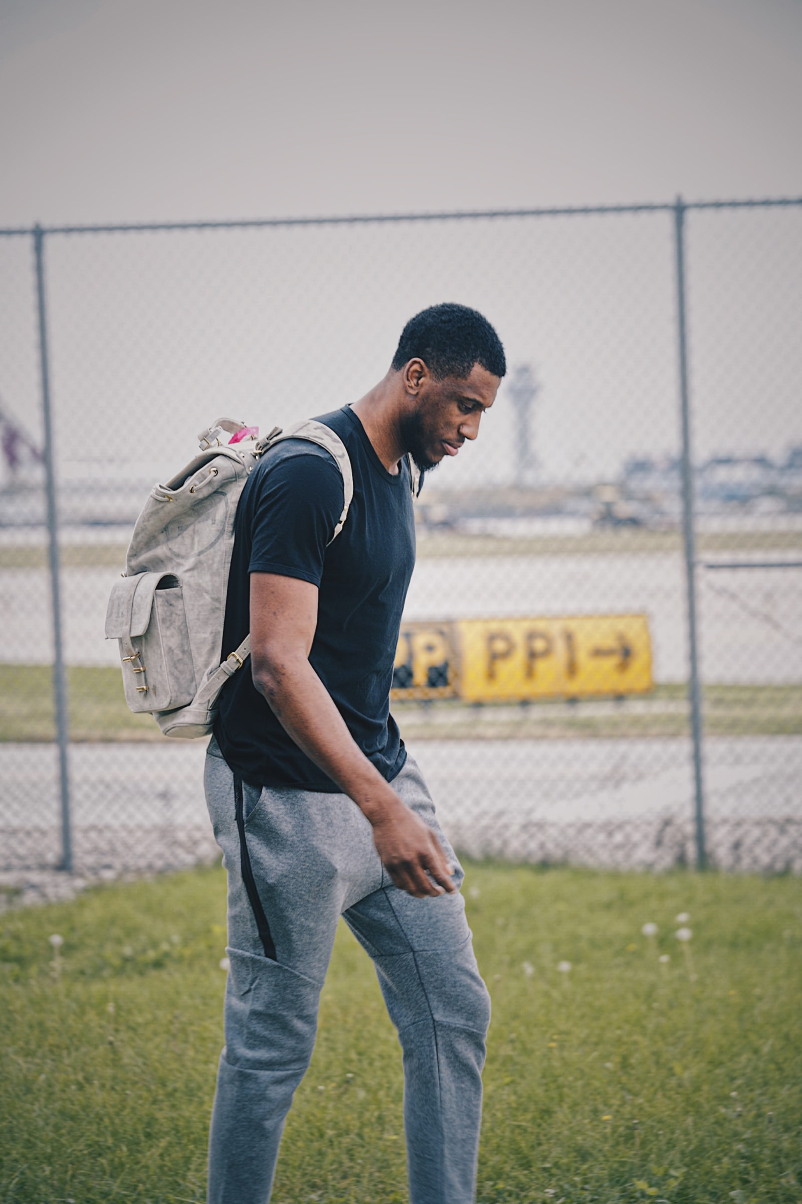 Thad boarding a plane to Indiana