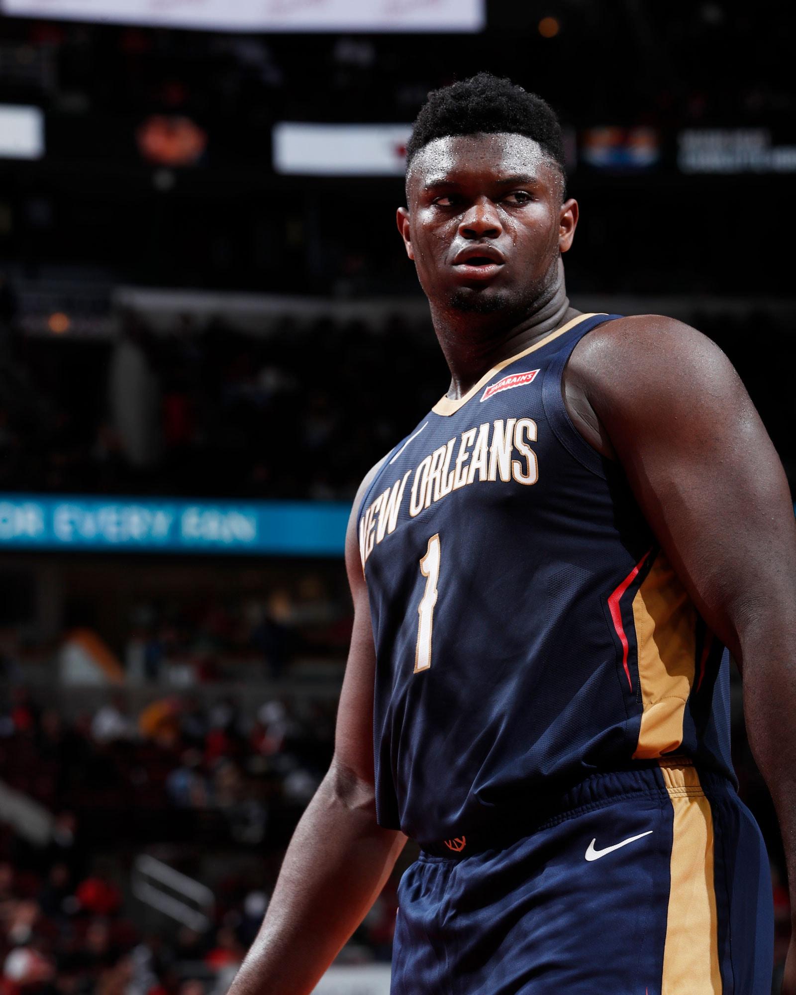 Zion Williamson #1 of the New Orleans Pelicans looks on during a pre-season game against the Chicago Bulls on October 8, 2019 at United Center in Chicago, Illinois.