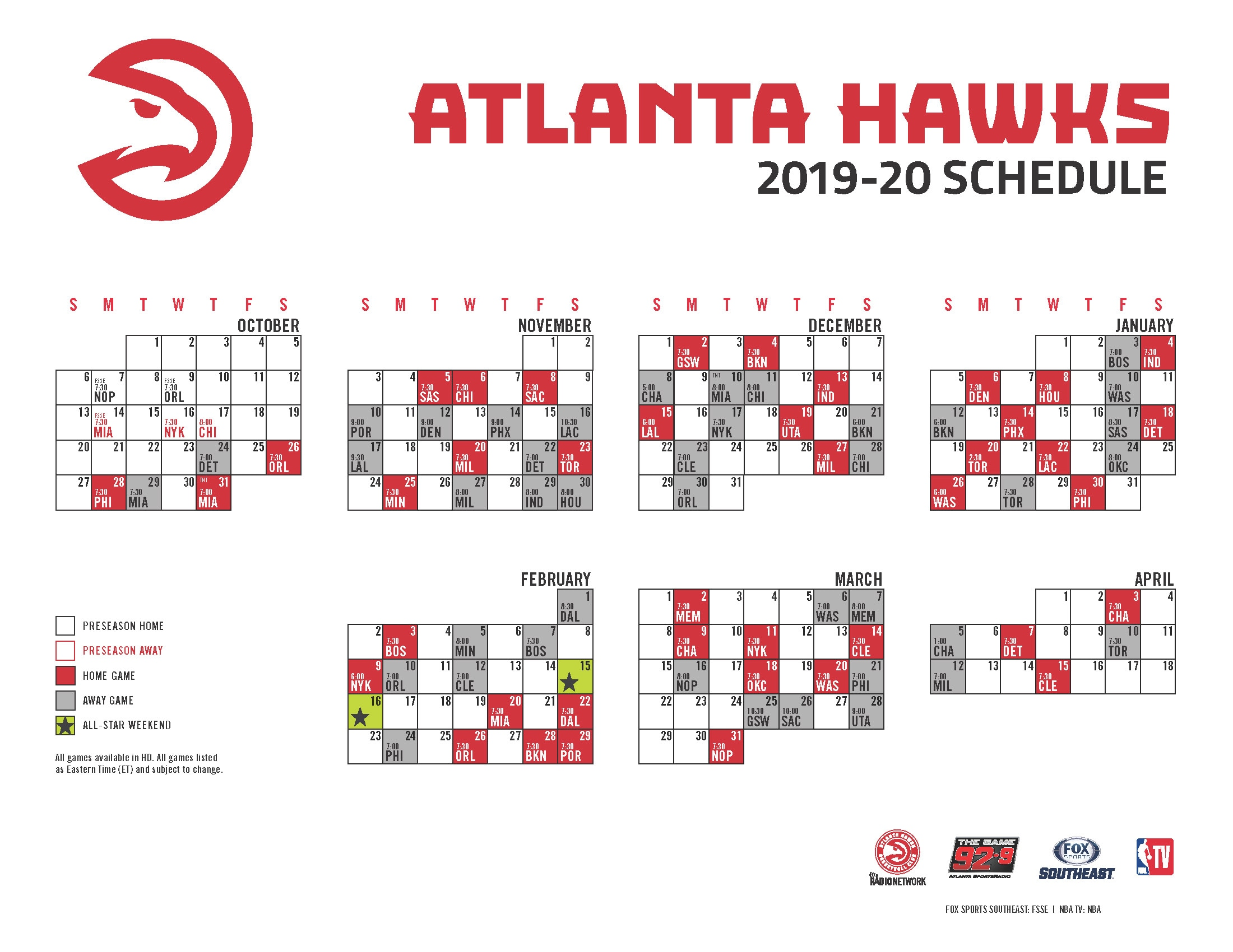 Clever image intended for atlanta hawks printable schedule