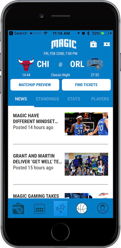 iPhone with Orlando Magic Mobile app