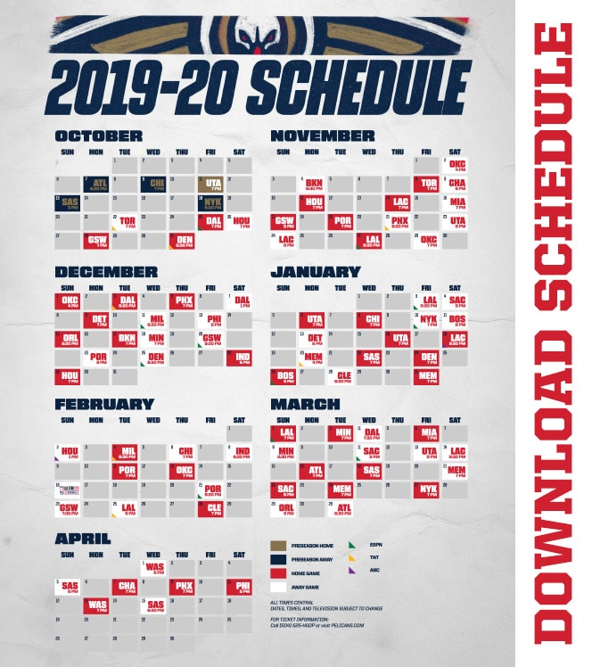 photograph about Printable Pacers Schedule identify Down load a Printable Pelicans 2019-20 Timetable Refreshing Orleans