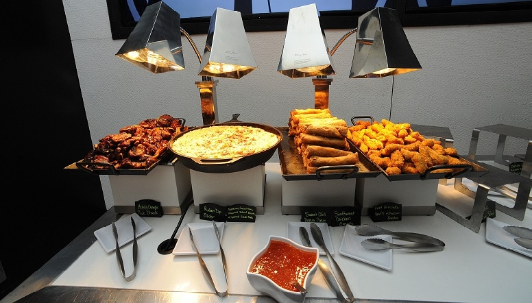 An assortment of catered food